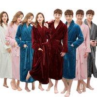 e8b9282248 Wholesale- One Sale Super Soft Women Men Winter Long Warm Bath Robe Lovers  Kimono Bathrobe Dressing Gown Bride Wedding Bridesmaid Robes New