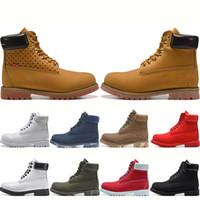 мужские сапоги черные кожаные оптовых-Timberland TBL Boots Дизайнерские ботинки для мужчин Женские женские тройные черные белые красные камуфляжные кожаные ковбойские зимние ботинки на рабочей платформе на лодыжке