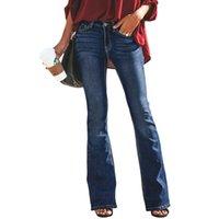jambe boutons jeans achat en gros de-Femmes Vintage trou déchiré jeans taille haute extensible bouton Fit Jeans évasés Dames Casual jambe large lavé pantalon en jean