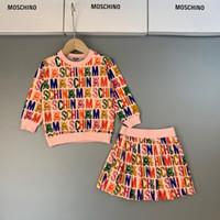 tejidos coreanos al por mayor-kids_love 2019 Trajes de dos piezas Ropa para niños Niñas de lujo Diseñador Niños Algodón puro Coreano Motion Weave Twinset Ropa 0818
