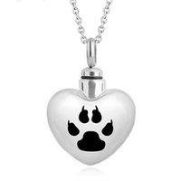 Wholesale simple small necklace for sale - Group buy Fashion Simple Small Heart Paw print Cremation Stainless Steel Jewelry pet Ash Urn Necklace Memorial Keepsake