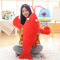 Wholesale lobster toys resale online - 80cm big simulation animal lobster plush toy big stuffed cartoon red crayfish doll pillow for kids gift inch