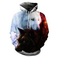 erkek çocuklar hoodies toptan satış-Kurt Baskılı Hoodies Erkekler 2d Hoodies Marka Tişörtü Erkek Ceketler Kaliteli Kazak Moda Eşofman Hayvan Streetwear Out Coat
