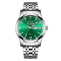 calendários watchbands venda por atacado-Relógio de quartzo de aço inoxidável dos homens novos Watchband impermeável Rodada Dial Calendário Chinês Weekly Quartz Watch