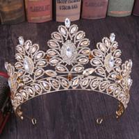 balo için gümüş saç aksesuarları toptan satış-Büyük Gelin Taçlar Lüks Kristalleri Prenses Düğün Gelin Tiara Taç Saç Aksesuarları Gelin Gümüş Prom Parti Rose Gold Mavi Kırmızı