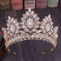coroa nupcial azul venda por atacado-Coroas Big nupcial Cristais Luxo Princesa nupcial do casamento Tiara Crown acessórios de cabelo da noiva Partido Prom Silver Rose Ouro Vermelho Azul