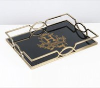 salon de thé achat en gros de-Signalisation de luxe classique de marque H chariot créatif maison rectangulaire modèle salle salon table basse après-midi thé table en métal décoration