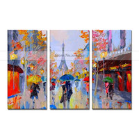 Wholesale city landscape oil paintings for sale - 100 Hand Painted Modern Abstract Canvas Calligraphy Acrylic Picture Handmade Colorful City View Landscape Canvas Oil Painting