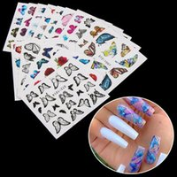 Wholesale nail design yellow for sale - Group buy 2020 New Design Butterfly Nail Sticker Water Transfer Decal Women Fashion Flower Nail Art Decor Manicure Hot Colorful