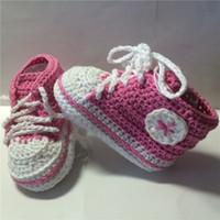 häkeln sportschuhe groihandel-Handgefertigte Baby Jungen Crochet Sneaker Booties Baby gestrickte Sportschuhe weiche Sohle Indoor Freizeitschuhe für Vorwanderer Cotton
