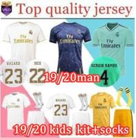 camisetas de uniforme al por mayor-2019 20 camiseta de fútbol del Real Madrid # 23 PELIGRO camiseta de fútbol para adultos de casa ASENSIO ISCO MARCELO madrid 19 20 kit de niños Uniformes de fútbol