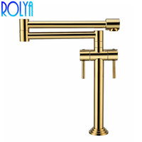 Wholesale brushed chrome mixer for sale - Group buy ROLYA NEW Solid Brass Deck Mounted Extended Hot and Cold Pot Filler Foldable Kitchen Faucet Sink Mixer Nickel Brushed Gold Chrome ORB Black