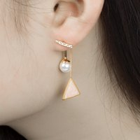 Wholesale pearl alloy diamond studs resale online - 20pcs Fashion Word Pearl Earring Triangle Diamond Oil Drip Ear Drop For Ladies Geometric After Hanging Ear Stud Jewelry Accessories