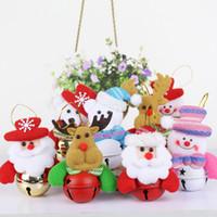 Wholesale santa figures resale online - Christmas Tree Pendant Xmas Santa Snowman Moose with Bell Hanging Ornaments Hotel Hall Mall Christmas Tree Decorations