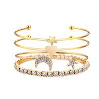 ingrosso braccialetto di rhinstone-Hot Fashion Jewelry Set Bracciale Oro Argento Freccia Love Star Moon Rhinstone Bracciale Bracciale rigido S350