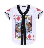 schürhakent-shirts großhandel-NY Hot style 3d digitales Muster für Muster-Poker AQK-Muster große beiläufige Männer und kurzes Baseball-Shirt der Frauen T-Shirt BASEBALL JERSEY