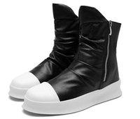 botas de salto alto hip venda por atacado-Hip hop Moda outono inverno Homens Botas Slip-On Sapatos Vestido de Dança Calçado Plataforma High Top Sneakers Martin Botas