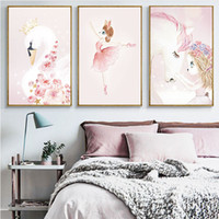 Wholesale baby room paint decor resale online - wall art canvas pictures Swan Princess Rabbit unicorn Posters Prints Decorative hanging Painting Nursery Baby Kids Room dreamy home Decor