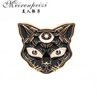Wholesale black cat pin online - Classic Mystical Sphynx gothic Witch Cat Brooch Lapel Pin Animal Jewelry Clothing Accessories Gift For Her His