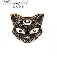 gold katzenstift großhandel-Klassische mystische Sphynx gotische Hexe Katze Brosche Revers Pin Tier Schmuck Kleidung Accessoires Geschenk für Sie / Ihn