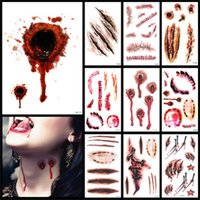 Wholesale new style tattoo designs resale online - New Design Halloween Decoration Sticker Scar Waterproof Stickers Tattoo Artificial Wound Mult Style Man And Women Festival grH1