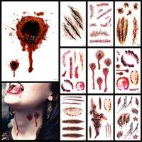 ingrosso stili di tatuaggi per gli uomini-Nuovo design Halloween Decorazione Adesivo Cicatrice Adesivi impermeabili Tatuaggio Artificiale Ferita Mult Style Man and Women Festival 0 22grH1