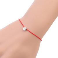 rote fadenkristalle großhandel-Einfache Stil Rote Schnur Armband Thread Stulpearmbänder Runde Kristall Perle Frauen Mädchen Schmuck Geschenke Kreative Charme Zubehör