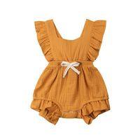 monos solidos al por mayor-11 colores recién nacido bebé espalda cruzada arco monos bebé volante mameluco color sólido 2019 verano moda boutique niños ropa de escalada C6108