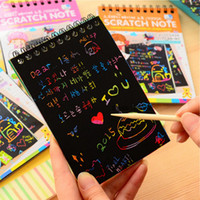 Wholesale diy paper toys for sale - Group buy Magic Color Rainbow Scratch Paper Notebook DIY Drawing Board Kids Craft Toys Coloring Pages Books for Children Painting Doodle