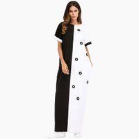 vestidos musulmanes indios al por mayor-Mujeres de algodón Casual Maxi Dress Indian Abaya negro blanco remiendo manga corta tallas grandes vestido de verano Dubai Abaya musulmán vestido largo