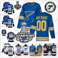 parche de hielo caliente al por mayor-Custom 2019 Stanley Cup Champions St. Louis Blues hombres, mujeres, jóvenes, niños Jersey Cualquier Número Nombre Azul Tercero Blanco Tarasenko Ryan O'Reilly Bozak