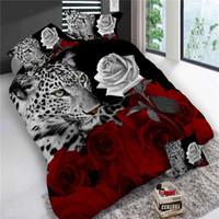 conjunto de edredons de rosa vermelho com rei venda por atacado-4 Pcs King Size de Luxo 3D Rosa Conjuntos de Cama Cor Vermelha Lençóis Cobertura de Consolador Set Folha De Cama de Casamento Tiger / Dolphin / Panda