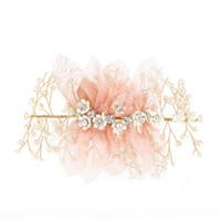 accessoires de cheveux de strass indien achat en gros de-Fleur Magnifique Bandeau Perle Bijoux En Cristal Tiara Rose Fleur Bandeaux De Mariée Perle De Mariée Mariage Accessoires De Cheveux Bijoux