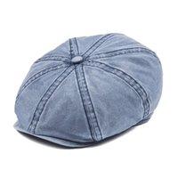 sombrero de boina azul hombre al por mayor-Venta al por mayor Navy Blue Cotton Newsboy Cap Men Women 8 Panel Ivy Flat Caps Driver Baker Boy Hat Protección solar Gatsby Beret sombreros 160