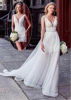 Wholesale wedding dresses turkey for sale - Group buy 2020 Wedding Dress Pieces Detachable Train Boho Bride Dresses Sexy Short Shirt Wedding Bridal Gowns Turkey Style