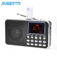 Wholesale headphones built mp3 player resale online - JINSERTA Digital Radio AM FM Radio Speaker MP3 Player Support TF Card U Disk Headphone Play AUX Input LED Display Screen