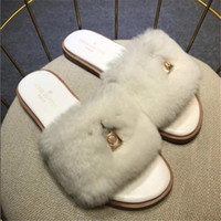 Wholesale sandals pendant resale online - Classic Lock Pendant Women Slippers Winter Thicken Pattern Female Wool Sandals Christmas Day Gift for Lady Flip Flop