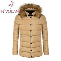 пуховая шуба оптовых-Hooded Detachable COOFANDY Faux Long Sleeve Men Pocket Casual Button Front Parka Zipper Collar Solid Coat Fur Outwear