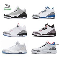 Wholesale michael basketball shoes resale online - III Black white Cement three Basketball Shoes tinker blue hurricane red New sneakers mens trainers Michael Sports