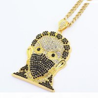 Wholesale steel full face mask resale online - Hip Hop Jewelry Full Crystal Masked Jesus Face Pendant Cuban Chain Iced Out Mens Necklace Rapper Fashion Accessories Christmas Gift
