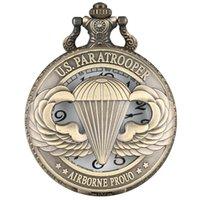 ingrosso esposizione in bronzo-Orologio da taschino in quarzo con display in bronzo per paracadutista
