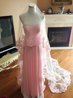 Wholesale pink wedding veil resale online - Sell Pink New Luxury Real Picture One Layer High Quality Lace Applique Edge Wedding Veils Meidingqianna Cathedral Length Alloy Comb