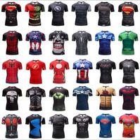 mallas de capitán américa al por mayor-Vengadores Camiseta de impresión digital 3D Spiderman Iron Man Capitán América Medias deportivas Ropa de secado rápido Gimnasio Estiramiento Camiseta de manga corta