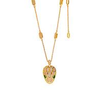 collier incrusté achat en gros de-Titanium acier luxe designer bijoux collier femme Green Eyed tête de serpent diamant incrusté collier court bijoux en gros Accessoires
