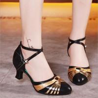 ingrosso jazz latino-Ballroom indoor Scarpe da ballo Latino Tango Donna Ragazza sconto Marca sexy Hight Heel 5.5 cm 3.5 CM a buon mercato scarpe da ballo femminile Migliore 34-41