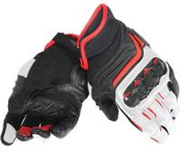 weiße schwarze motorradhandschuhe großhandel-Dain Carbon D1 ST Lederhandschuhe Moto Motorrad Bike Racing Handschuhe Schwarz / Weiß / Lava Rot