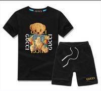vêtements pour filles achat en gros de-VENTE CHAUDE Nouveau Vêtements De Mode De Luxe Logo Designer COCO Garçons Et Filles Sport Suit Bébé Infant À Manches Courtes Vêtements Enfants Marque Set 2-7Age