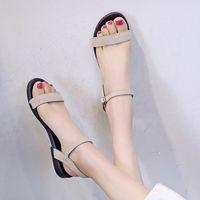 grandes semelles achat en gros de-FERLENZ Big Size 11 Sandales à talon plat avec boucle à un mot Chaussures à bout ouvert pour femmes, romaines