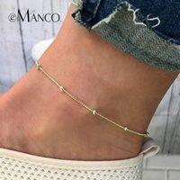 gebrandte goldfußkettchen großhandel-Fußkettchen e-Manco Fußkettchen Armband Für Frauen Gold Farbe Fußschmuck Einfache Einstellbare Femme Armband Minimalismus Frauen Geschenk Marke Design
