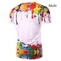 serin resim toptan satış-Serin Sıçrayan Boya Tops Yaz T Gömlek Erkekler Kısa Kollu Yenilik Baskılı 3d T-Shirt O-Boyun Kişilik Yuvarlak Boyun Tees Zootop Ayı